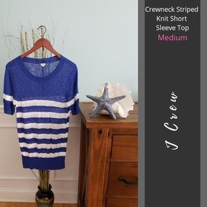 J Crew | Crewneck Striped Knit Short Sleeve Top